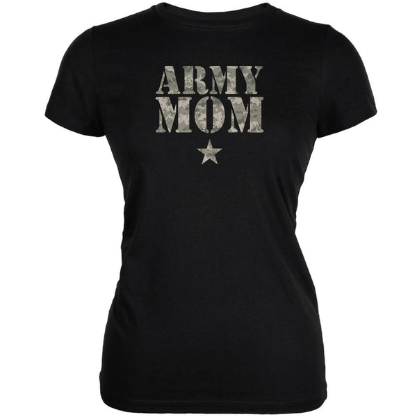 Army Mom Black Juniors Soft T-Shirt