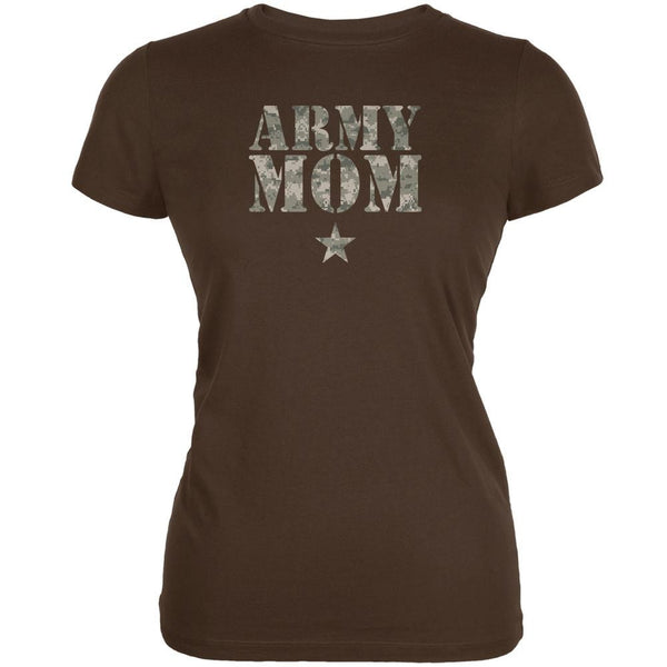 Army Mom Brown Juniors Soft T-Shirt