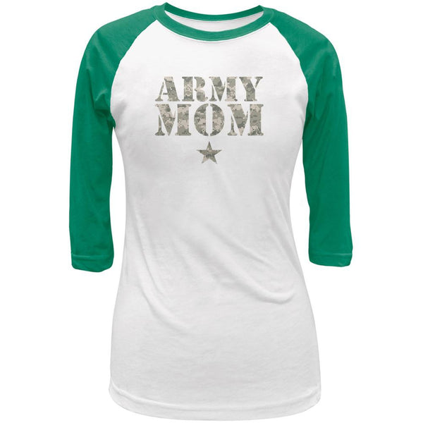 Army Mom White/Kelly Green Juniors 3/4 Raglan T-Shirt