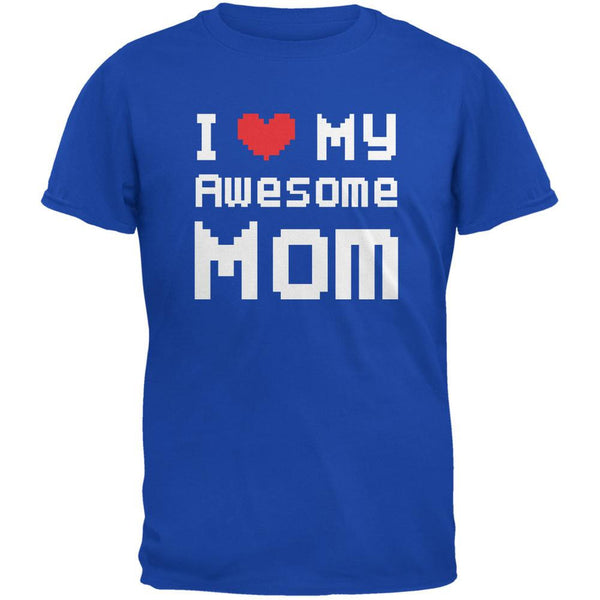Mother's Day - I Heart My Awesome Mom 8 Bit Pixel Royal Youth T-Shirt
