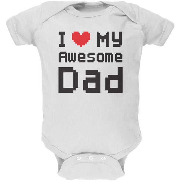 Father's Day I Heart My Awesome Dad 8 Bit Pixel White Soft Baby One Piece