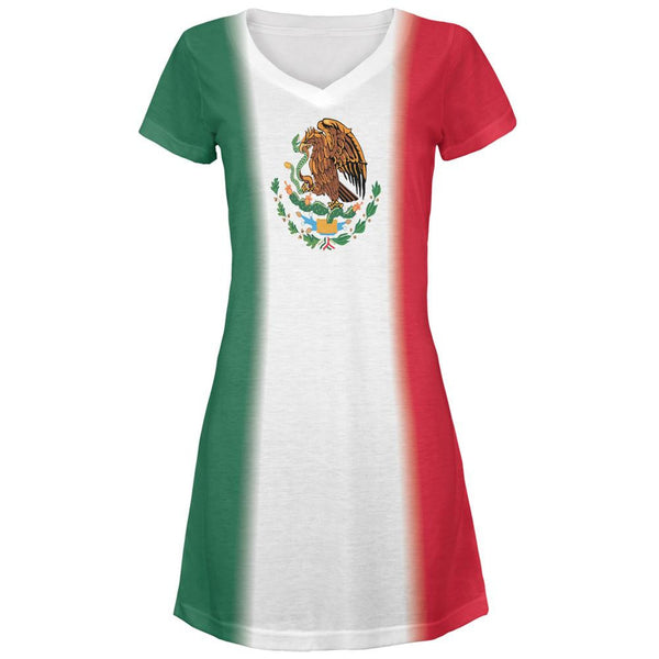 Cinco De Mayo Mexican Flag All Over Juniors V-Neck Dress