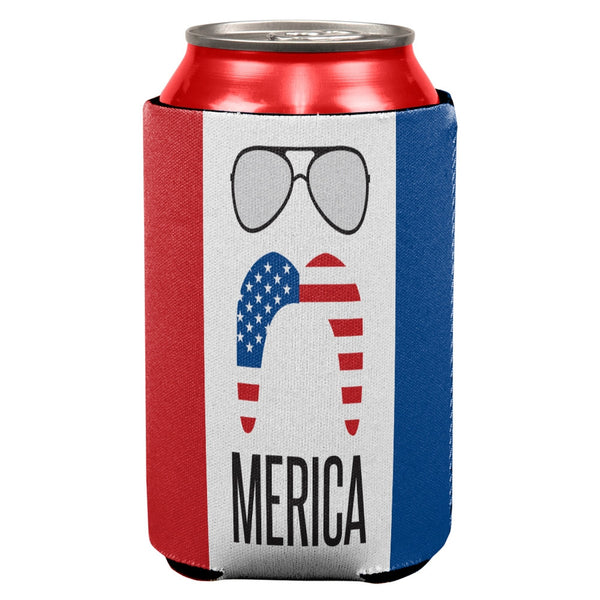 Merica Sunglasses and Mustache All Over Can Cooler