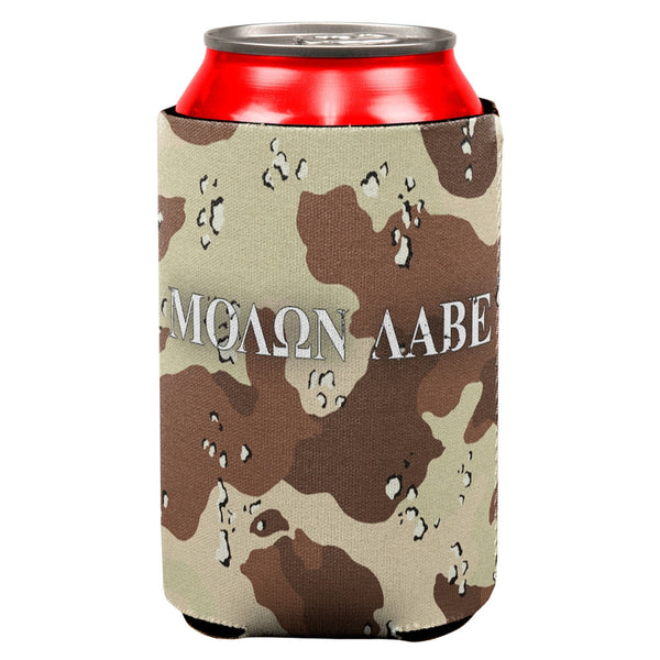 Molon Labe Distressed Desert Camo All Over Can Cooler