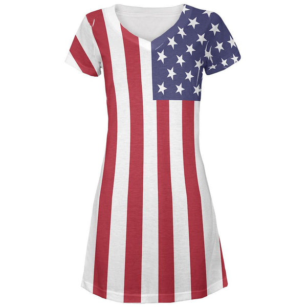 4th of July American Flag All Over Juniors V-Neck Dress