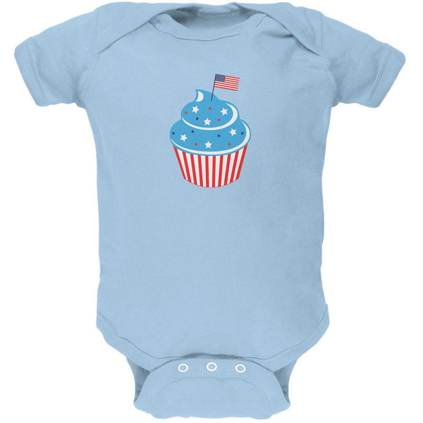 4th of July American Flag Cupcake Light Blue Soft Baby One Piece