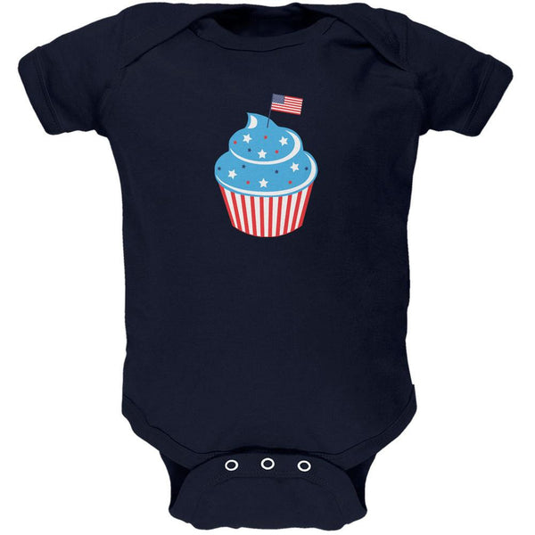 4th of July American Flag Cupcake Navy Soft Baby One Piece