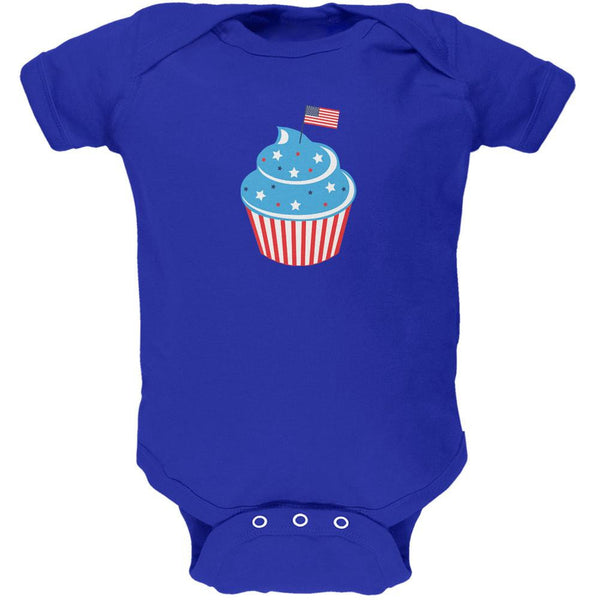 4th of July American Flag Cupcake Royal Soft Baby One Piece