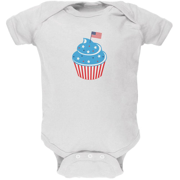 4th of July American Flag Cupcake White Soft Baby One Piece