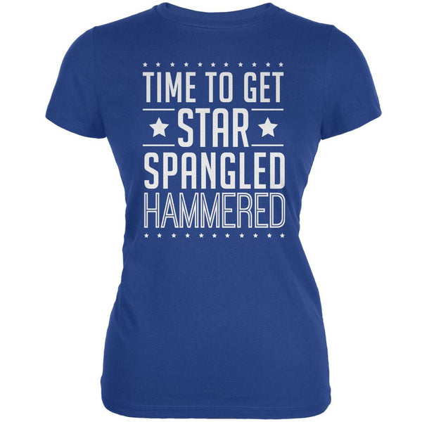 Time to get Star Spangled Hammered Royal Juniors Soft T-Shirt