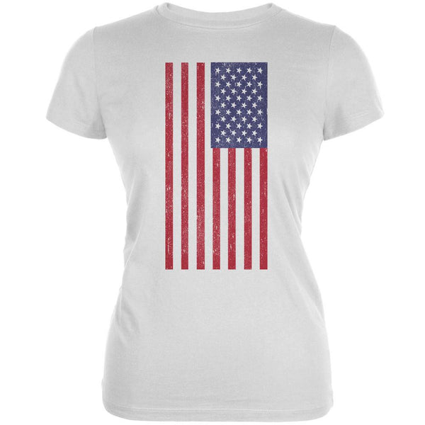 4th of July American Flag Distressed DTG White Juniors Soft T-Shirt