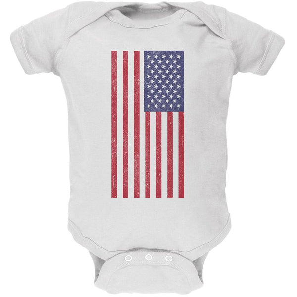 4th of July American Flag Distressed DTG White Soft Baby One Piece