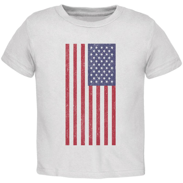 4th of July American Flag Distressed DTG White Toddler T-Shirt