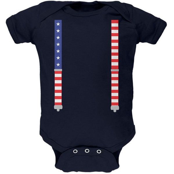 4th of July American Flag Suspenders Navy Soft Baby One Piece