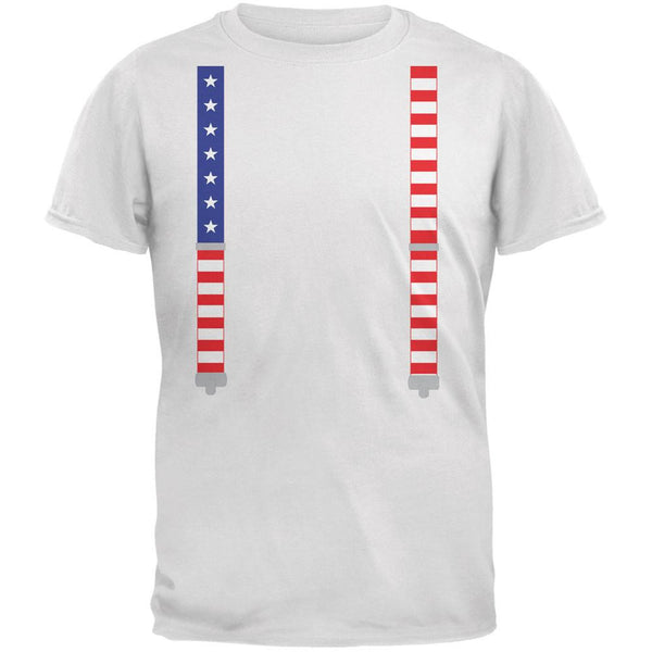 4th of July American Flag Suspenders White Adult T-Shirt