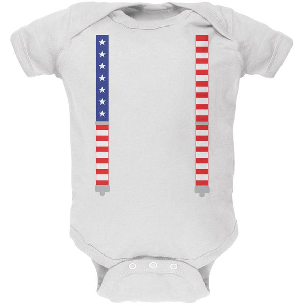 4th of July American Flag Suspenders White Soft Baby One Piece