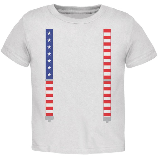 4th of July American Flag Suspenders White Toddler T-Shirt