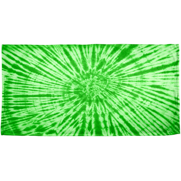 Green Tie Dye All Over Plush Beach Towel