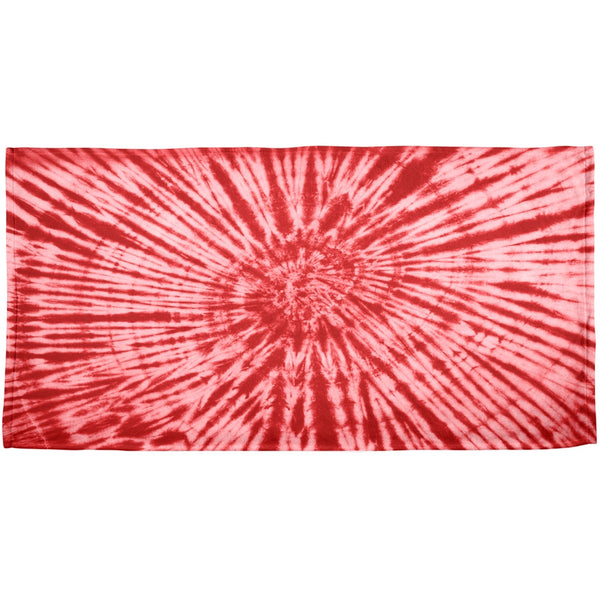 Red Tie Dye All Over Plush Beach Towel