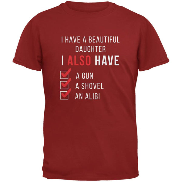 Father's Day I Have a Beautiful Daughter Cardinal Red Adult T-Shirt