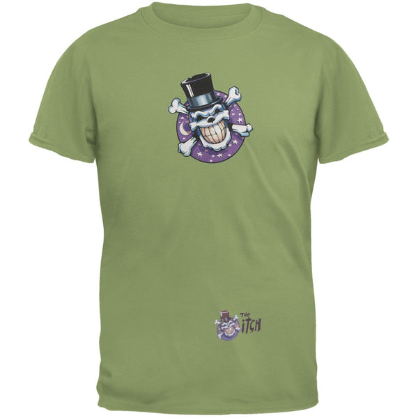 Skull & Crossbones Top Hat Logo Olive Adult T-Shirt