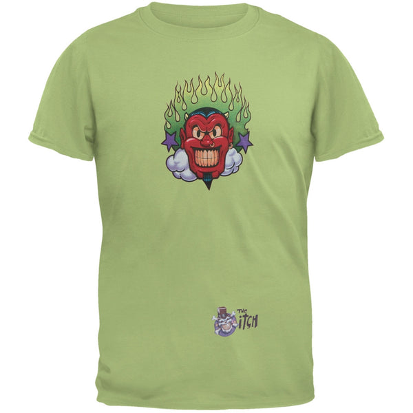 Devil & Flames Green Adult T-Shirt