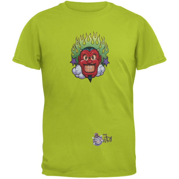 Devil & Flames Lime Green Adult T-Shirt