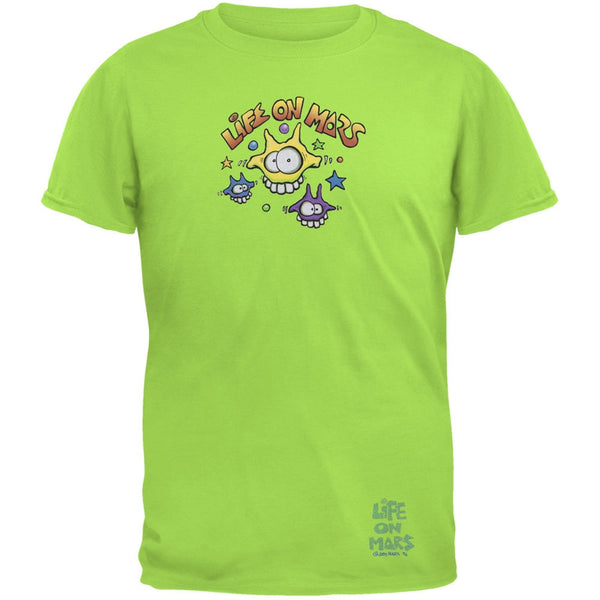 Joey Mars - Life On Mars Martian Toon Faces Green Adult T-Shirt