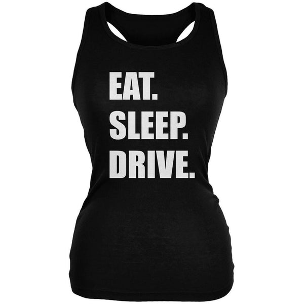 Eat Sleep Drive Black Juniors Soft Tank Top
