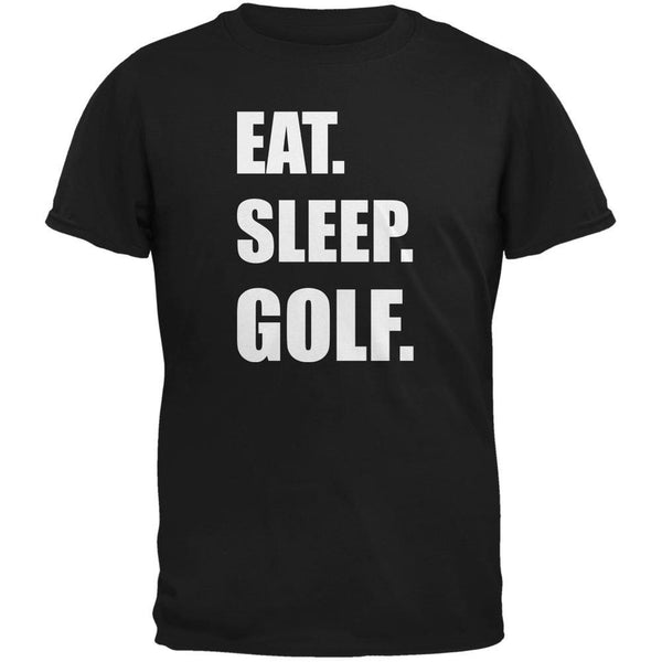 Eat Sleep Golf Black Adult T-Shirt