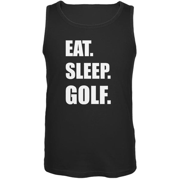 Eat Sleep Golf Black Adult Tank Top