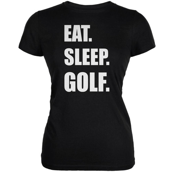 Eat Sleep Golf Black Juniors Soft T-Shirt
