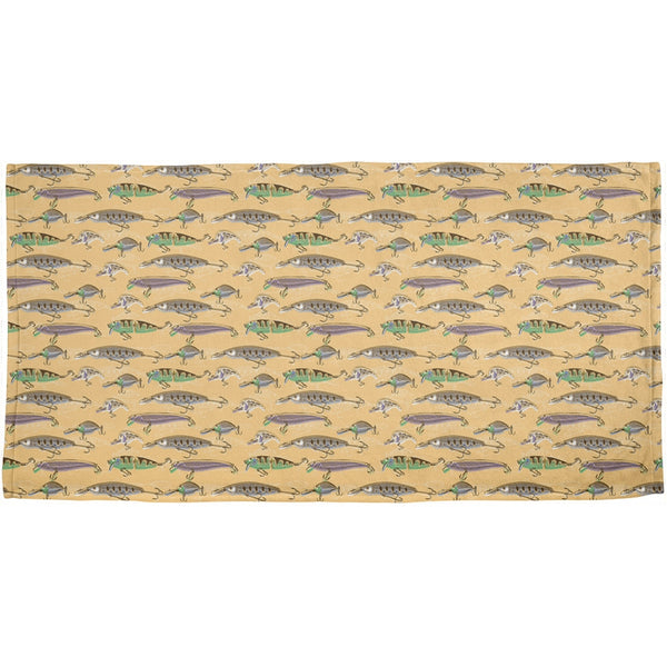 Fishing Lures All Over Plush Beach Towel