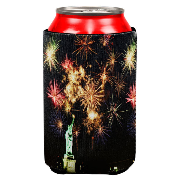 4th of July Liberty New York Fireworks All Over Can Cooler