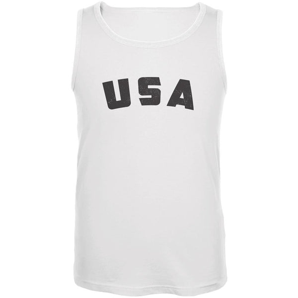 4th Of July Distressed USA White Adult Tank Top