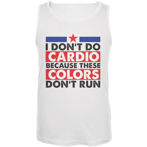 4th Of July I Don't Do Cardio White Adult Tank Top