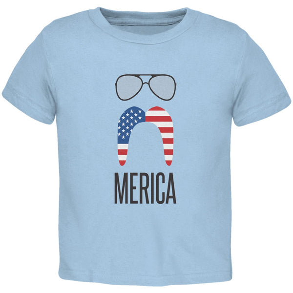 4th of July Merica Sunglasses and Mustache Light Blue Toddler T-Shirt