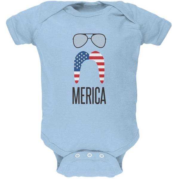 4th of July Merica Sunglasses and Mustache Light Blue Soft Baby One Piece