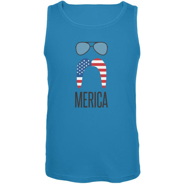 4th of July Merica Sunglasses and Mustache Turquoise Adult Tank Top