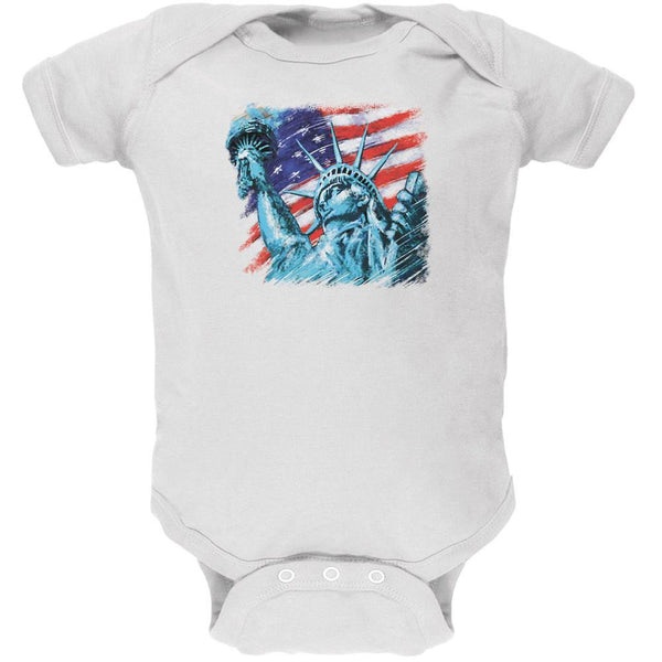4th of July Statue of Liberty White Soft Baby One Piece