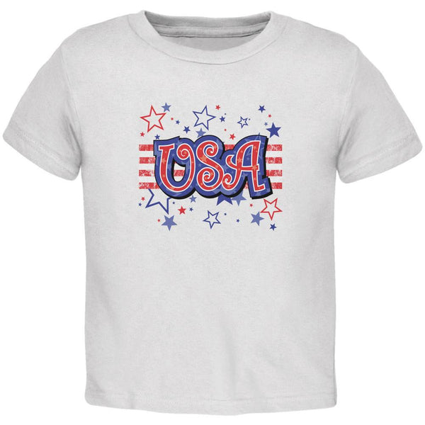 4th of July USA Stars White Toddler T-Shirt