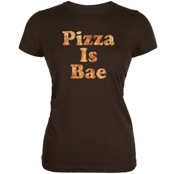 Pizza Is Bae Brown Juniors Soft T-Shirt