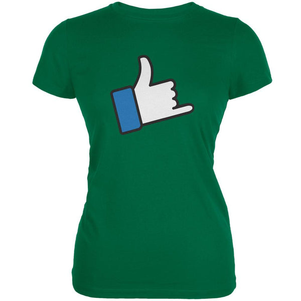 Shaka Like Hand Kelly Green Juniors Soft T-Shirt