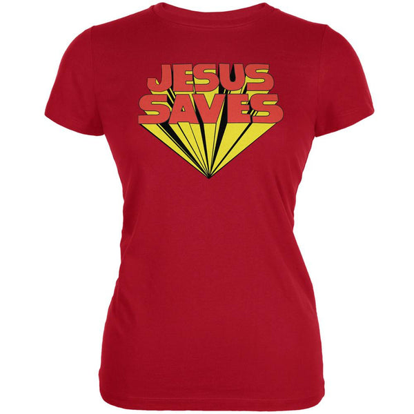 Jesus Saves Inspired By Keith Moon Red Juniors Soft T-Shirt