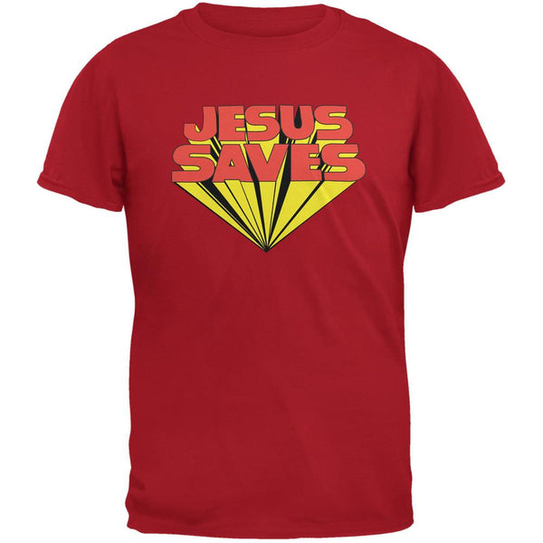Jesus Saves Inspired By Keith Moon Red Adult T-Shirt