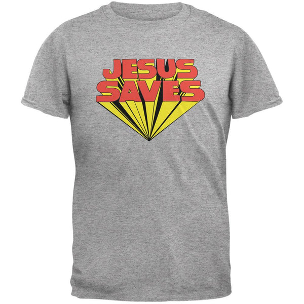 Jesus Saves Inspired By Keith Moon Heather Grey Adult T-Shirt