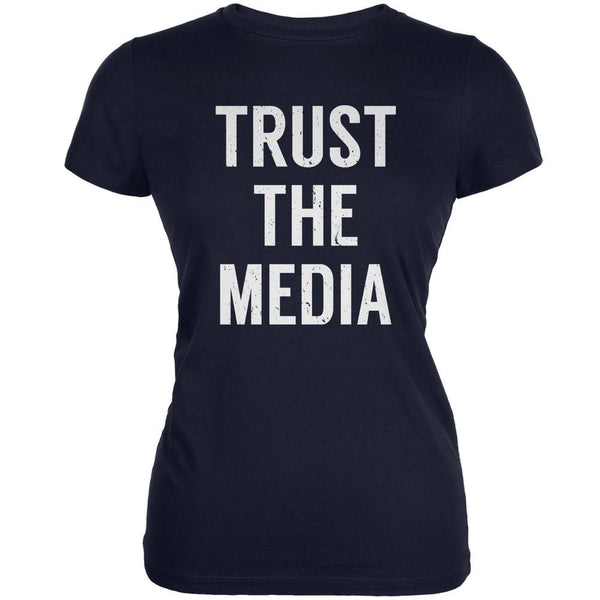 Trust The Media Inspired By Michael Stipe Navy Juniors Soft T-Shirt
