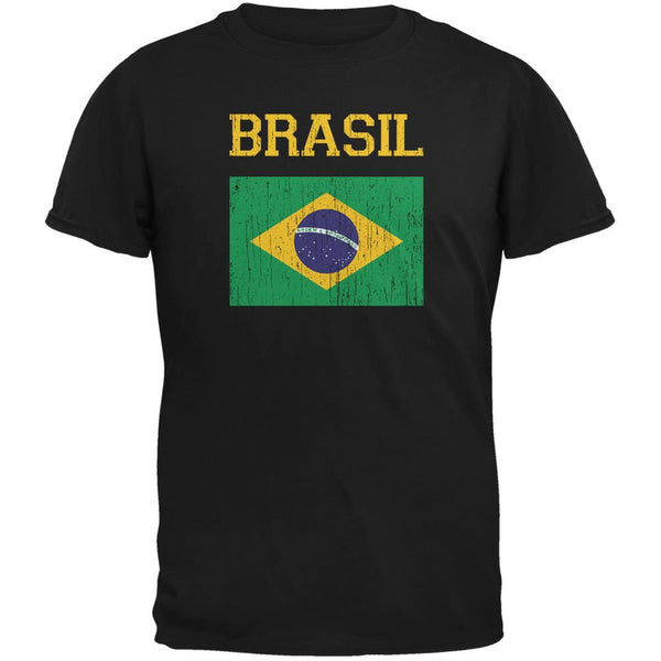 World Cup Distressed Flag Brasil Black Youth T-Shirt