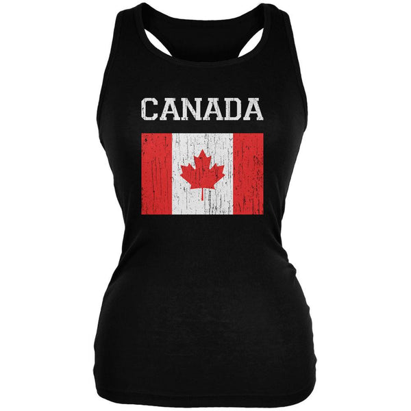 World Cup Distressed Flag Canada Black Juniors Soft Tank Top