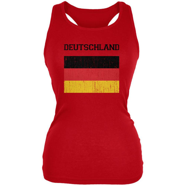 World Cup Distressed Flag Deutschland Red Juniors Soft Tank Top